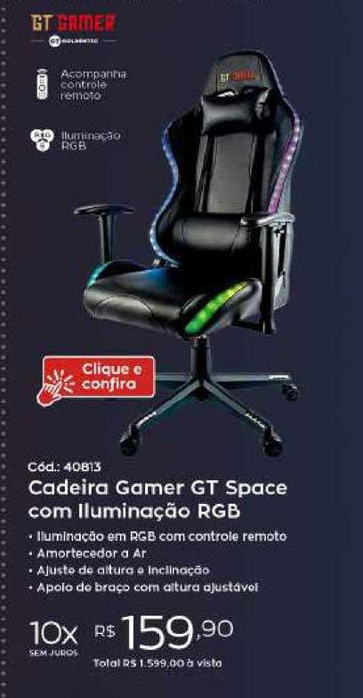 Ibyte Cadeira Gamer Gt Space Com Iluminação Rgb