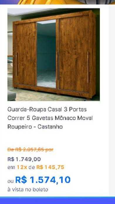 Gazin Guarda Roupa Casal 3 Portas Correr 5 Gavetas Mônico Moval Roupeiro Castanho