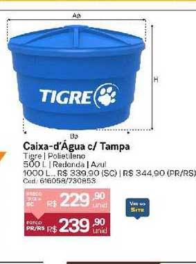 Cassol Caixa D'água C Tampa Tigre Polietileno