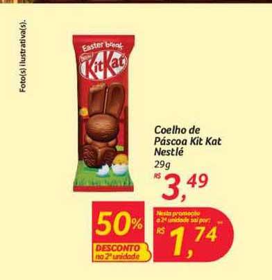 Hipermercado Big Coelho De Páscoa Kit Kat Nestlé 50% Desconto Na 2a Unidade