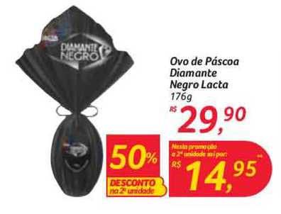 Hipermercado Big Ovo De Páscoa Diamante Negro Lacta 50% De Desconto Na 2a Unidade