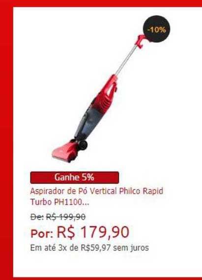 Ponto Frio Aspirador De Pó Vertical Philco Rapid Turbo Ph1100